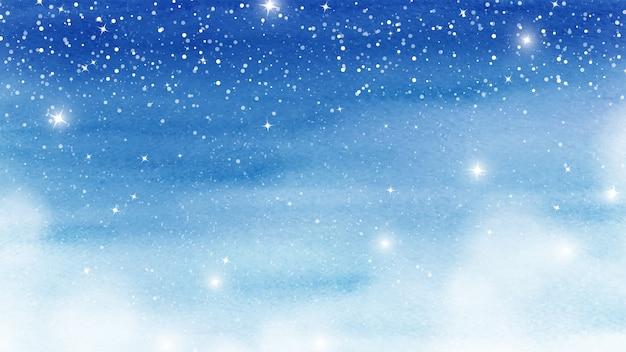 青い水彩画の染みの冬のクリスマスカードの色合い。雪が降る水平方向のアートワークと汚れテクスチャ水彩背景に輝く星。