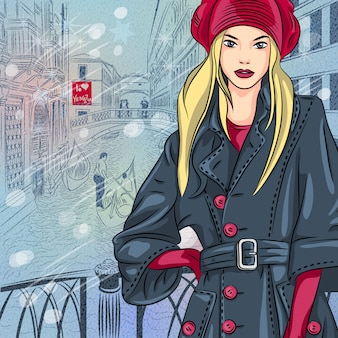 Winter christmas cityscape with tblonde fashion girl on the bridge of sighs
