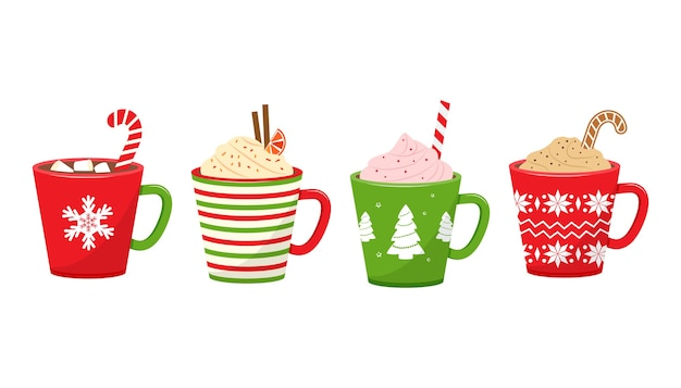 Winter christmas cups with hot drinks. holiday mugs with hot chocolate.