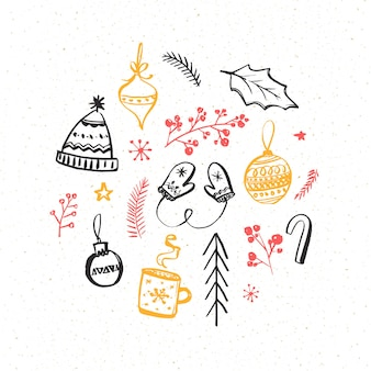 Winter and christmas design elements. hand drawn illustrations of knitted mittens and hat, decorations and branches. vector drawings.