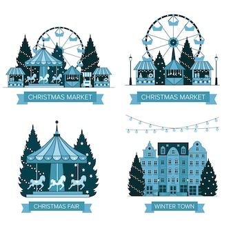 겨울 크리스마스 박람회 시장 새해 복 많이 받으세요 그리고 크리스마스 유럽 도시