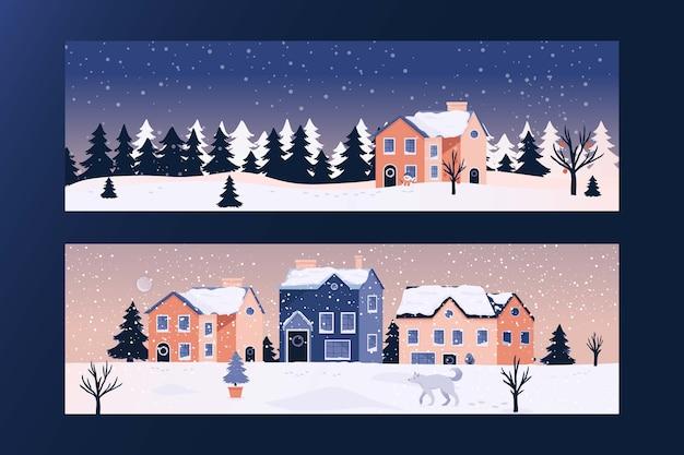 Зимний рождественский плоский дизайн баннеров шаблон. пейзаж фон