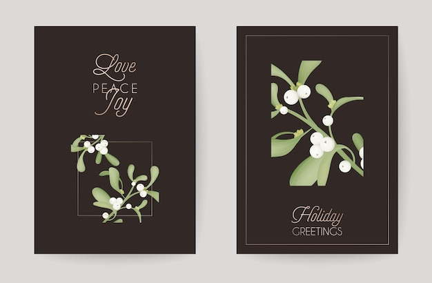 Winter christmas floral mistletoe greeting card. retro background, design template for holiday season celebration with rose gold decoration new year brochure in vector