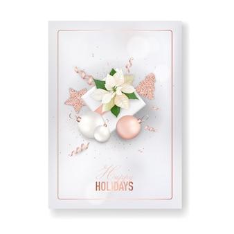 겨울 크리스마스 꽃 인사말 카드입니다. 꽃 포 인 세 티아 복고풍 배경, 로즈 골드 반짝이 스타와 함께 휴가 시즌 축 하를 위한 디자인 서식 파일, 벡터에서 새 해 브로셔
