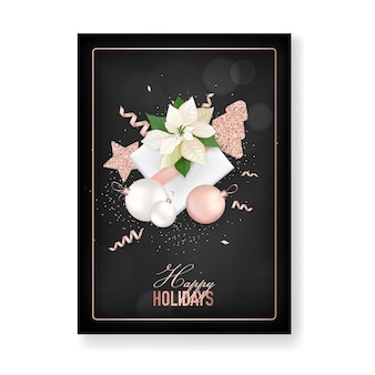 Winter christmas flowers greeting card. floral poinsettia retro background, design template for holiday season celebration with rose gold glitter star, new year brochure in vector