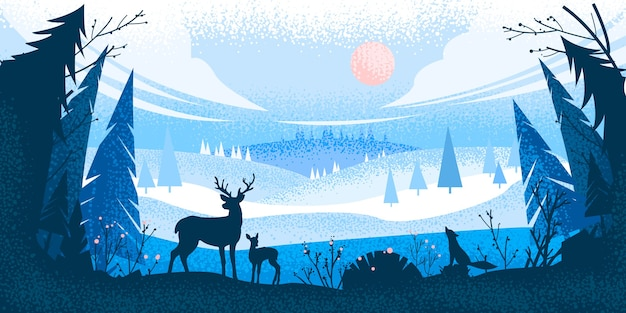 Winter christmas forest landscape with reindeer silhouette, pine trees, hills, fox, sky, clouds