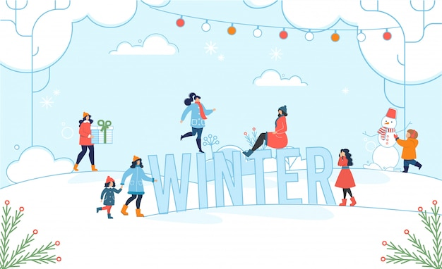 Winter christmas fun for adults and kids poster