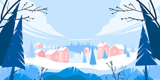 Winter christmas holiday landscape with snow, pine trees silhouette, village in drifts,hills