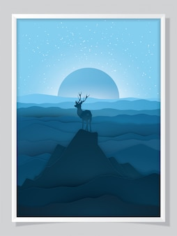 Winter christmas illustration in paper cut style.