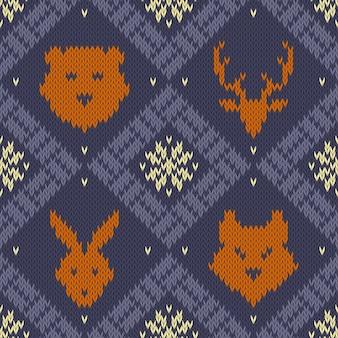 Winter christmas knitted seamless pattern