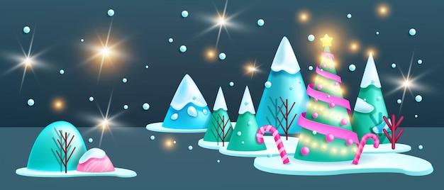 Зимний рождественский пейзаж 3d вектор ночь праздник абстрактный лес фон xmas сцены сосны