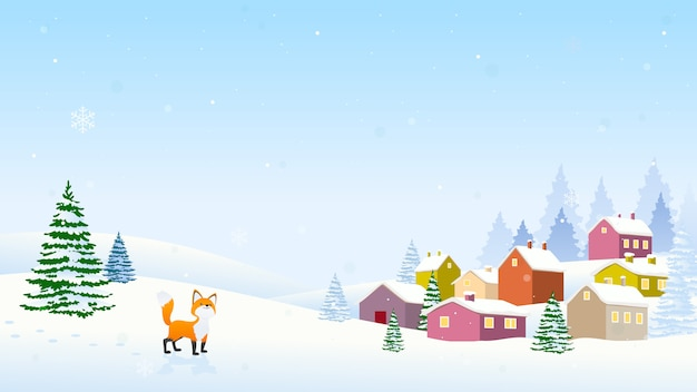 Winter christmas landscape background vector