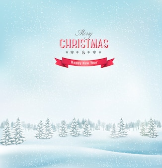 Winter christmas landscape background.