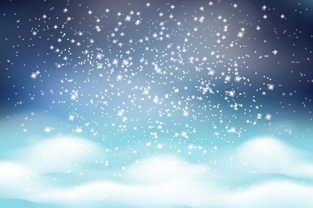 Winter christmas landscape. falling white snow on a background of white fluffy snowdrifts and a dark frosty sky.
