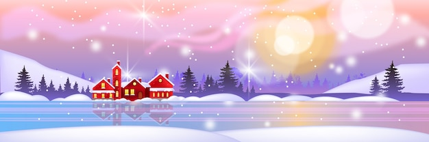 Winter christmas landscape illustration with snow, holiday red houses trees, forest silhouette, lake