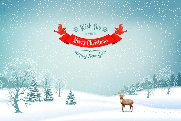 雪に覆われた丘、鹿、リボンバナーと冬のクリスマス風景ベクトル背景