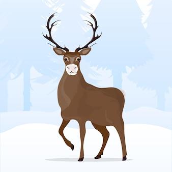 눈 덮인 언덕으로 겨울 크리스마스 풍경