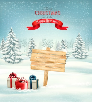 Winter christmas landscape with a wooden ornate sign background