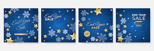 Зимний рождественский новый год и квадратный шаблон продажи в конце года для социальных сетей. универсальная рождественская зимняя открытка со снегом, воздушным шаром, подарком, деревом, горой, звездой и снежинкой, блестками и снеговиком.