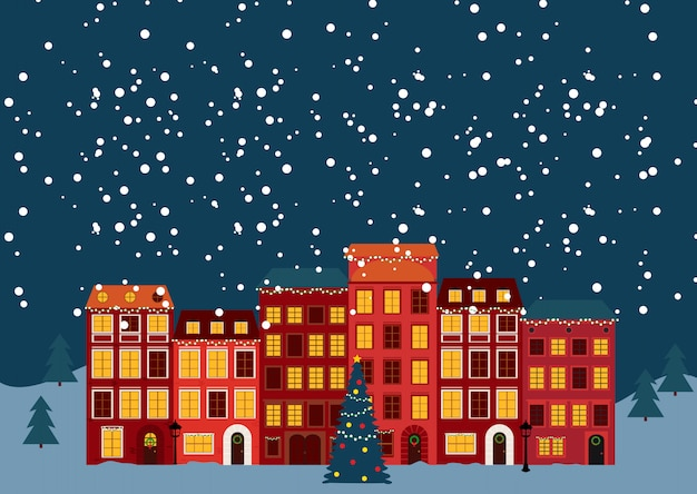 Winter christmas and new year little town in retro style