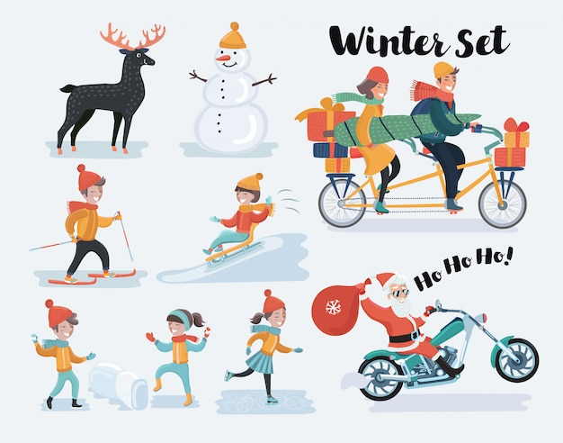Winter christmas people set.   illustration