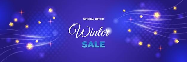 Зимняя рождественская распродажа баннер бумажных значков 3d орнамент. фоновый дизайн сверкающих огней гирлянды, с реалистичным снегом, синей снежинкой и блеском конфетти.