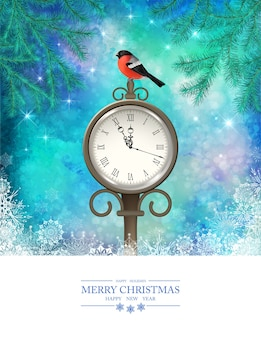 Winter christmas scene with outdoor clock and a bird