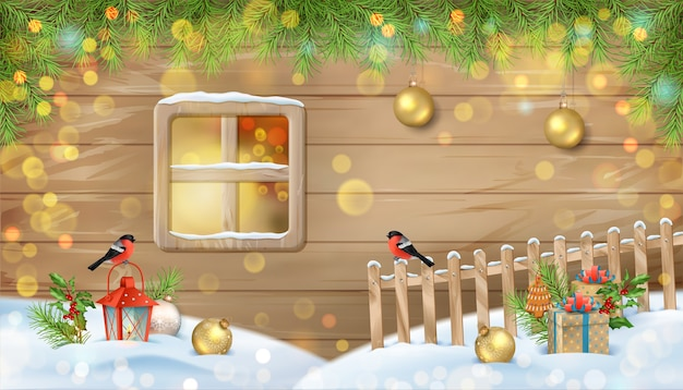 Winter christmas scene with a window of wooden house, birds and fence