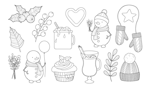 Winter and christmas set of snowman, punch, warm clothes, hot chocolate with marshmallow outline contour. coloring