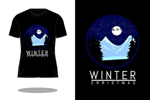 冬のクリスマスシルエットtシャツのデザイン