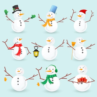Winter christmas snowmans collection