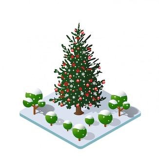 Winter christmas snowy tree icon