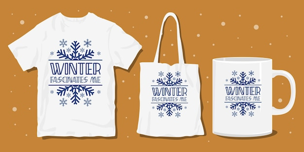 Зимняя рождественская типография с надписью футболка дизайн товаров