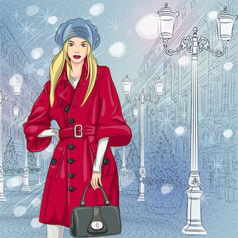 Winter christmas urban landscape, beautiful fashionable girl on the wide avenue with vintage buildings and beautiful lanterns in st. petersburg, russia