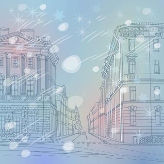 러시아 상트페테르부르크 시내 중심가에 있는 겨울 크리스마스 도시 풍경