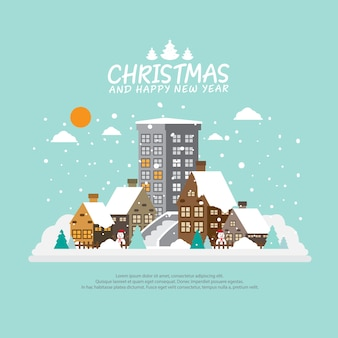 Winter city background for christmas background