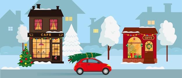 冬の街の休日の風景。ギフトショップ、カフェの建物、屋根の上のクリスマスツリーが付いている車。図。