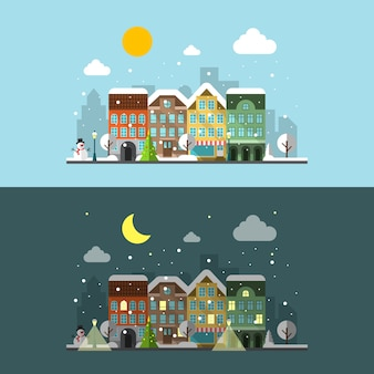 Winter city landscape in day and night.