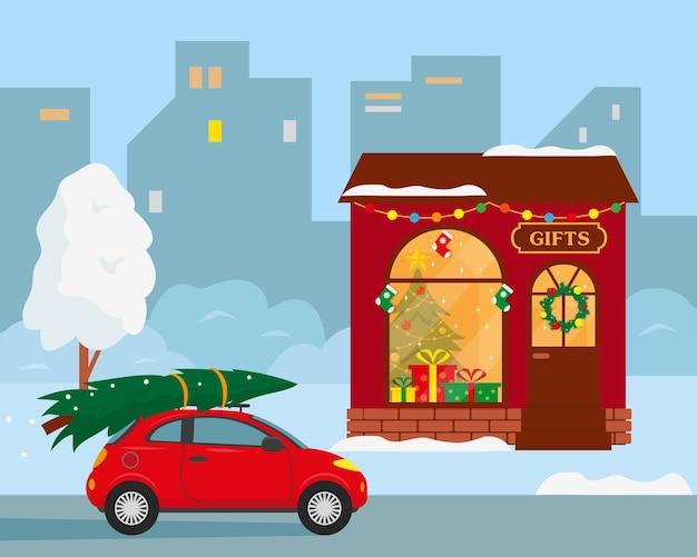 Зимний городской пейзаж здание магазина подарков и машина с елкой на крыше