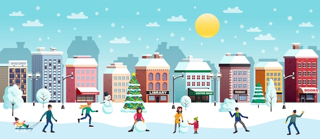Winter city landscape illustration
