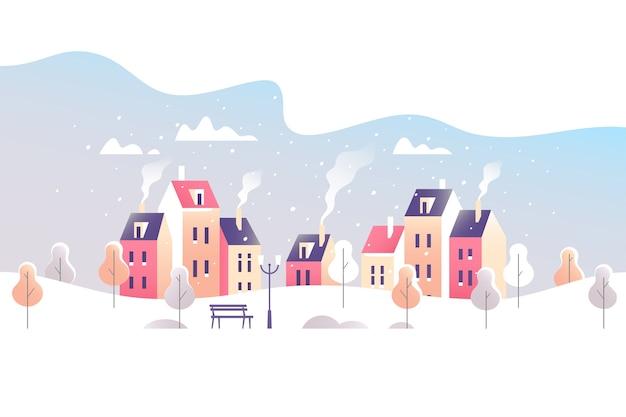冬の街の風景。小さな町の雪に覆われた通り。