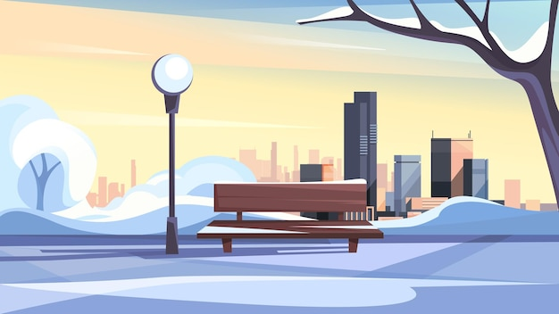 冬の都市公園。美しいアウトドアシーン。