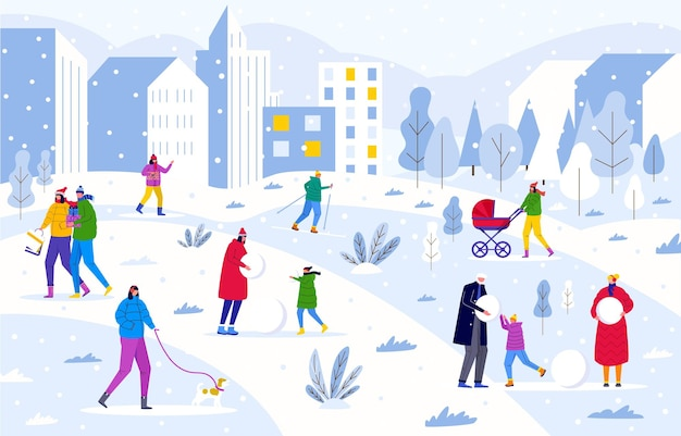 Зимний городской парк, родители гуляют с детьми и развлекаются на природе. люди лепят снеговика и в лесу. векторный шаблон для пригласительного билета, дизайн флаера, открытки, праздничный фон