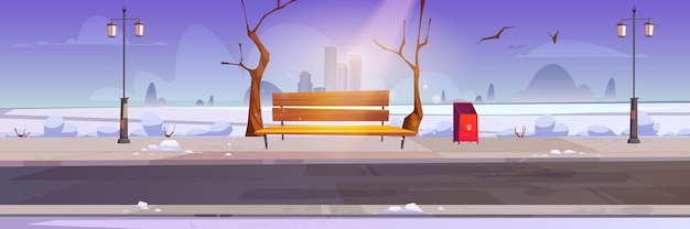 Winter city park with white snow wooden bench and town buildings on skyline
