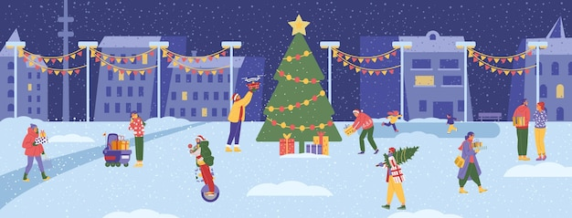 Winter city scene with big christmas tree and people walking around with gift boxes