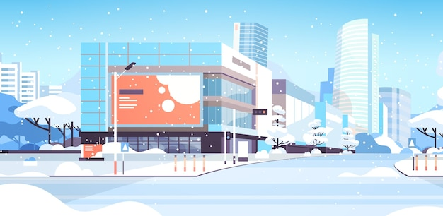 Winter city snowy downtown street with skyscrapers business buildings sunshine cityscape flat horizontal vector illustration