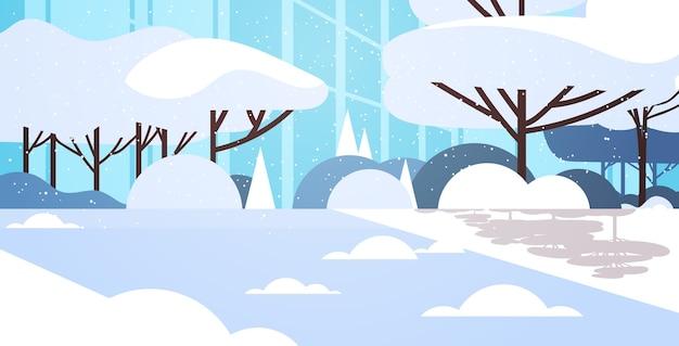 Winter city snowy park office building closeup facade cityscape flat horizontal vector illustration