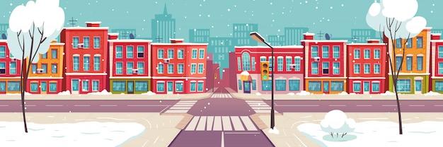 Winter city street, snowy urban landscape