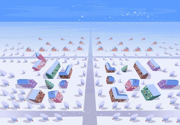 午後の冬の街の平面図。漫画のスタイルでベクトルイラスト。
