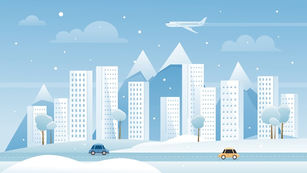 冬の都市都市の大都市の風景